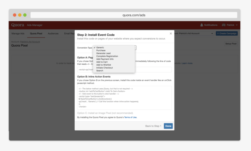 Quora multi-event conversion tracking