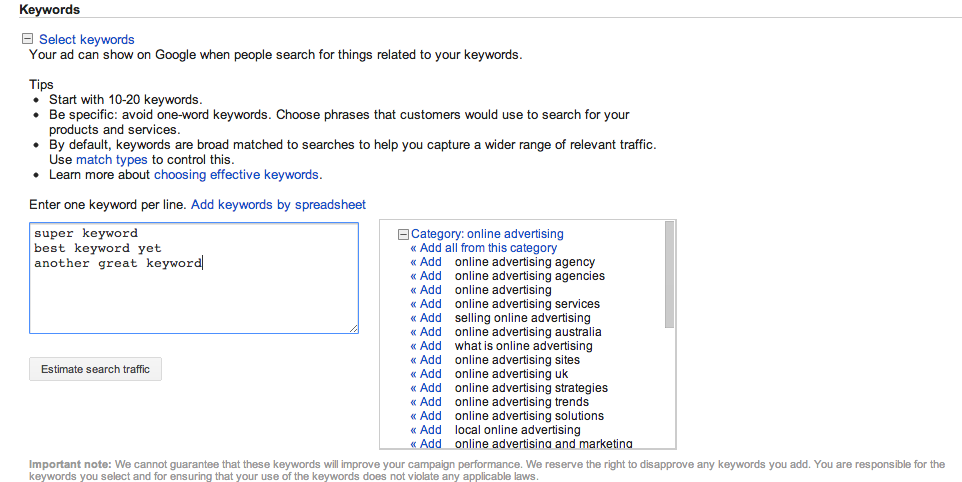 Adding keywords to AdWords