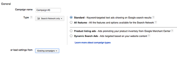 Setting up an AdWords campaign