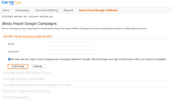Bing Import from Google AdWords