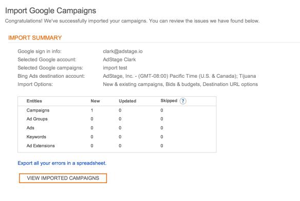 AdWords to Bing Import Summary