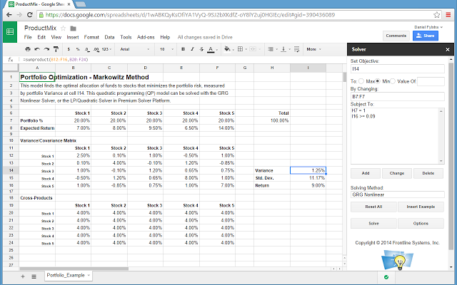 Solver google sheets add on