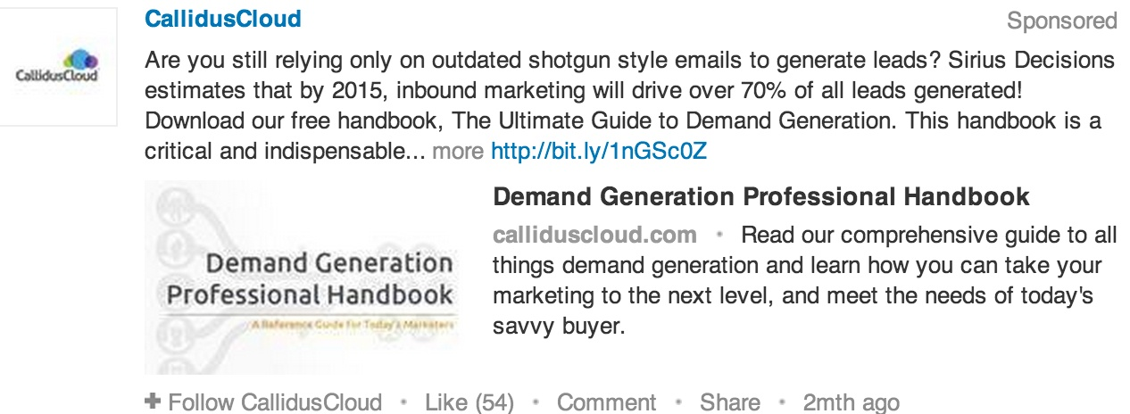 linkedin sponsored update with content