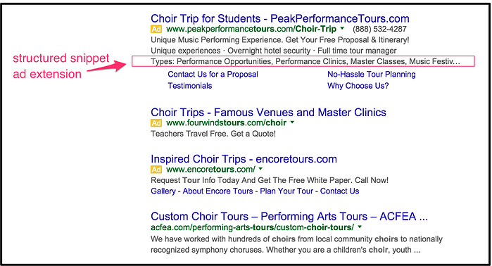 structured snippets - holiday PPC tips