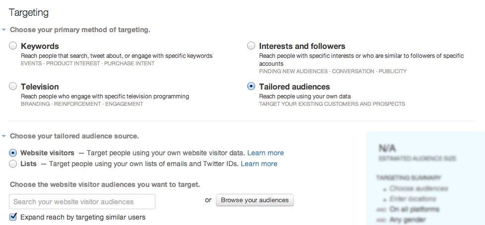 twitter ads retargeting settings