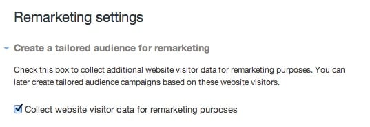 twitter ads remarketing tag settings