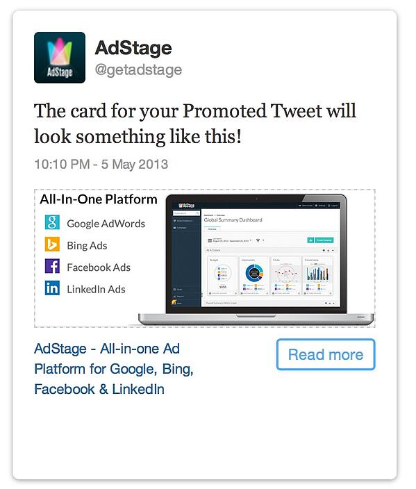 Twitter Ads Website Card Preview for AdStage