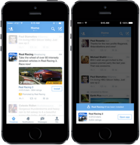 Example of a Twitter Mobile App Engagement Ad in Timeline