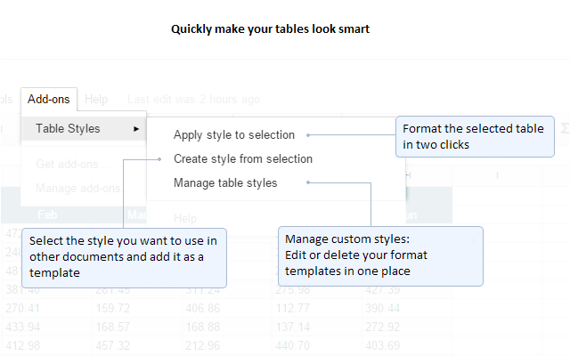Table Styles google sheets add on