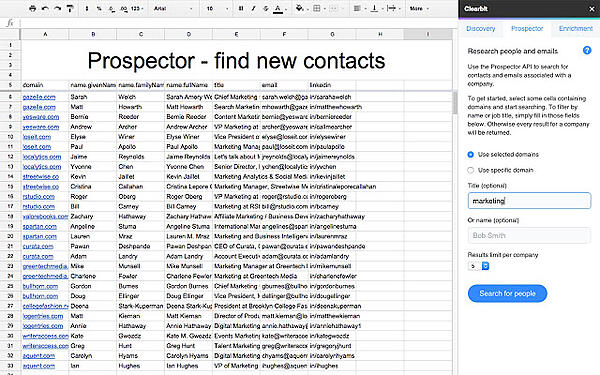 Clearbit Sheets google sheets add on