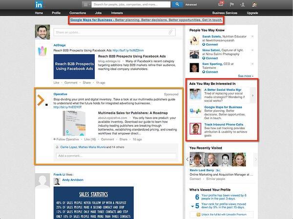 where linkedin ads display