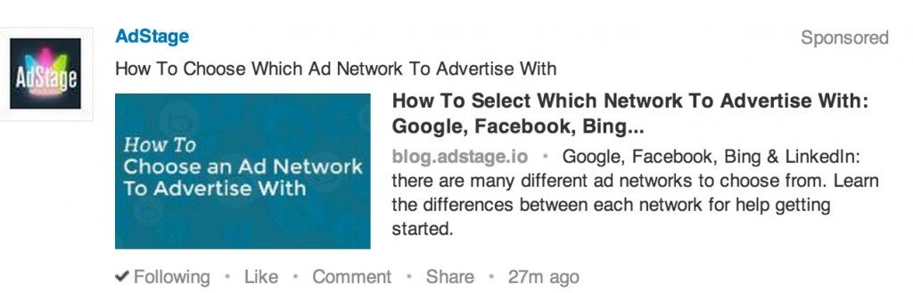 AdStage Ad Platform Announces Support for New LinkedIn Ad Type 'Direct Sponsored Content'