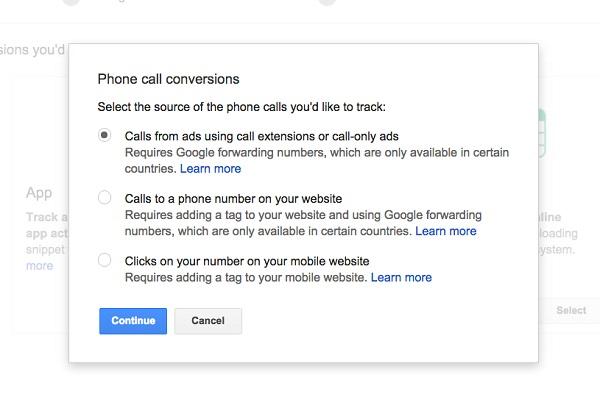 call conversions adwords